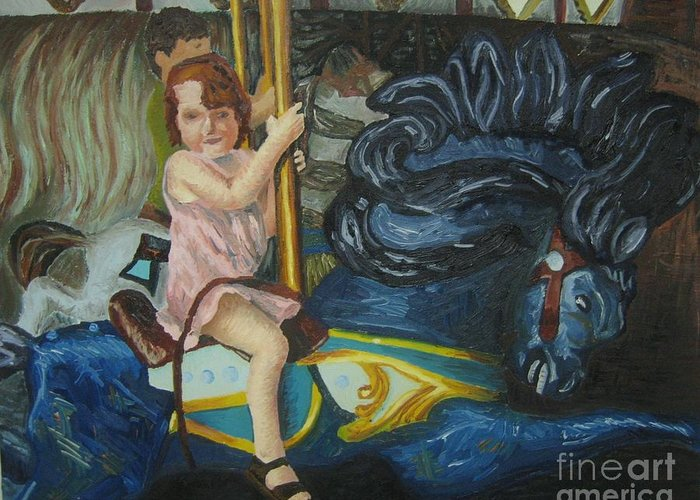 Carousel Greeting Card featuring the painting And The Painted Ponies Go Up And Down by Kayla Race