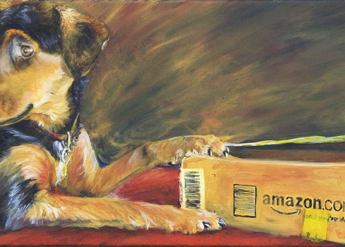 Dog Greeting Card featuring the painting And Youre Done by Nik Helbig