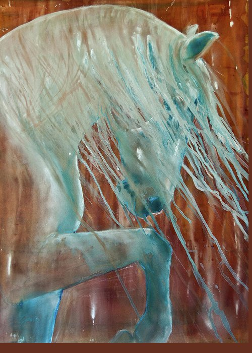 Horse Art Greeting Card featuring the painting Andalusian Stallion by Jani Freimann