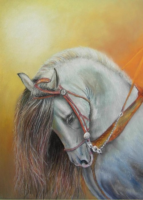 Horse Greeting Card featuring the painting Andaluz by Ceci Watson