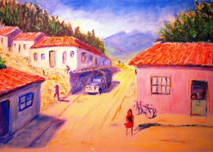 Oil Greeting Card featuring the painting Andean Village by Horacio Prada