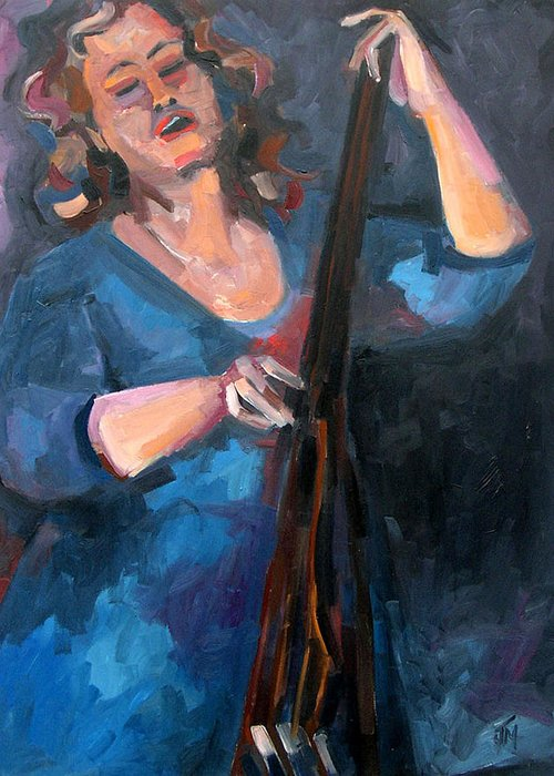 Blues Musician Greeting Card featuring the painting AndraFaye by Jackie Merritt