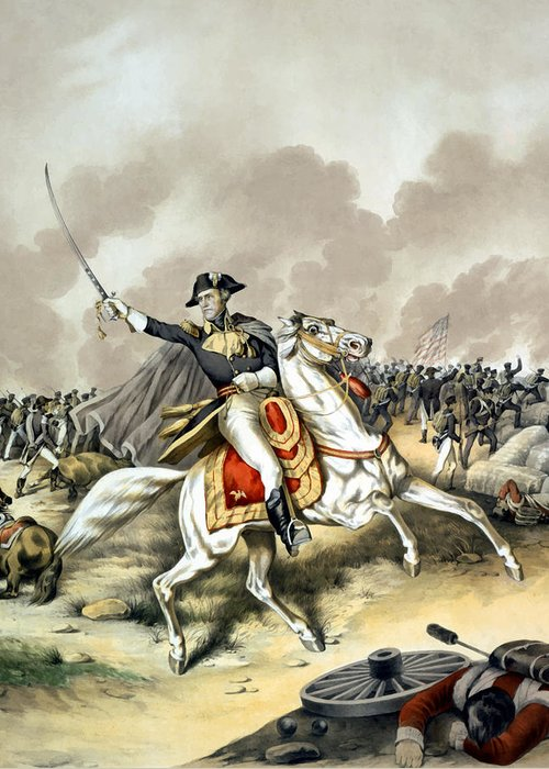 Andrew Jackson Greeting Card featuring the painting Andrew Jackson At The Battle Of New Orleans by War Is Hell Store