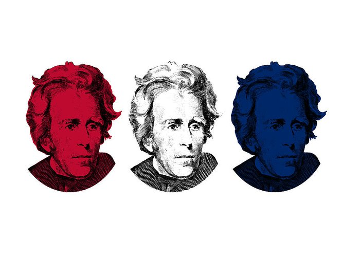 President Jackson Greeting Card featuring the digital art Andrew Jackson Red White And Blue by War Is Hell Store