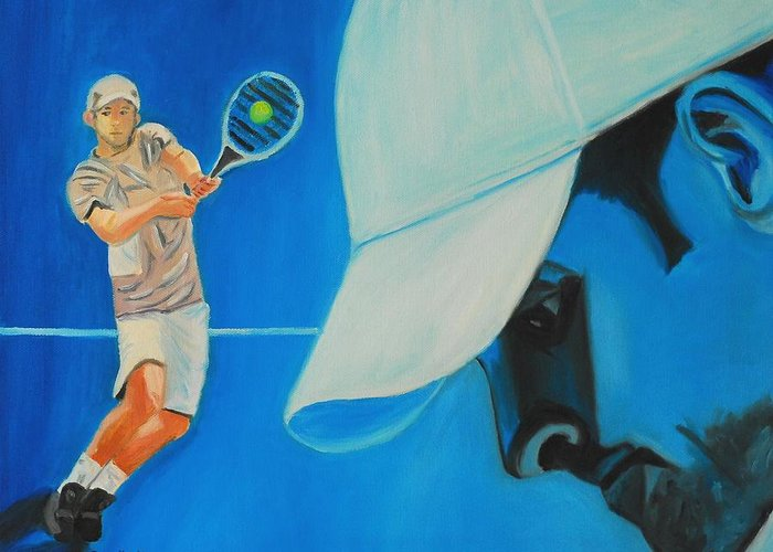 Andy Greeting Card featuring the painting Andy Roddick by Quwatha Valentine