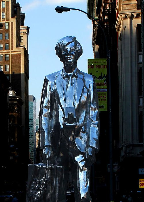 New York City Greeting Card featuring the photograph Andy Warhol New York by Andrew Fare