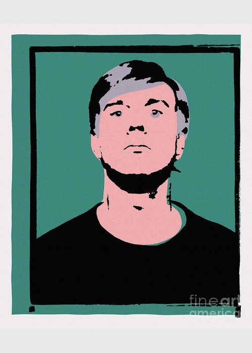 Andy Warhol Greeting Card featuring the painting Andy Warhol Self Portrait 1964 On Green - High Quality - Stamp Edition 2012 by Peter Potamus