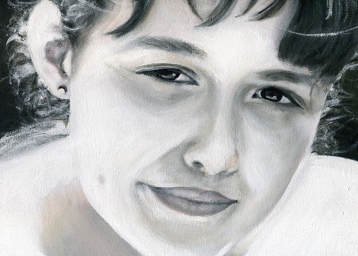 Portrait Greeting Card featuring the painting Ane by Fiona Jack