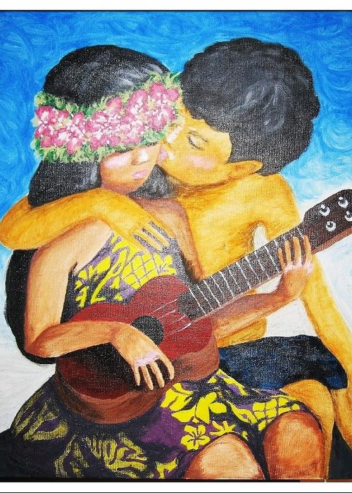 Hawaiian Greeting Card featuring the painting Anela by Gina Bocalbos