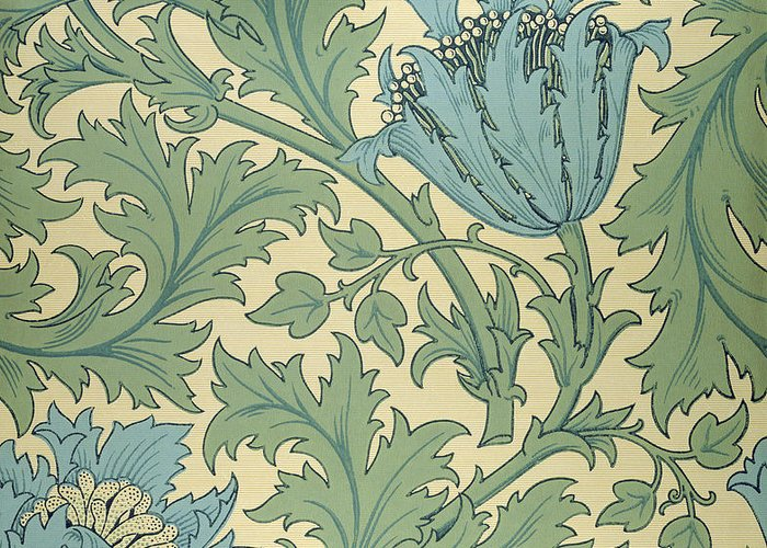 Arts And Crafts Movement; Floral; Pattern; Anemones Greeting Card featuring the tapestry - textile Anemone Design by William Morris
