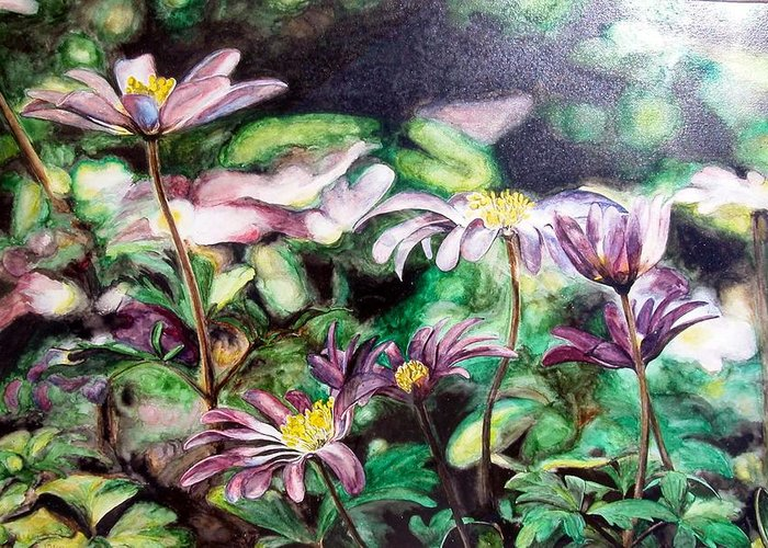 Floral Painting Greeting Card featuring the painting Anemones Japonaises by Muriel Dolemieux