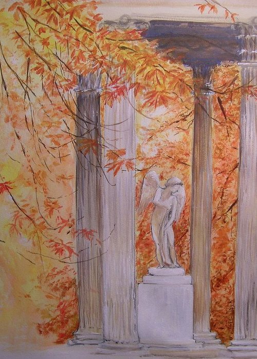Angel Greeting Card featuring the painting Ange Petit Trianon Versailles by Lizzy Forrester