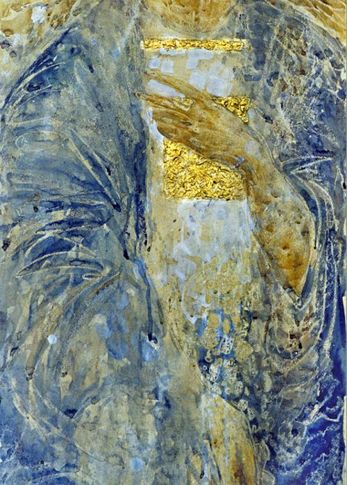 Altar Greeting Card featuring the painting Angel 3 by Valeriy Mavlo