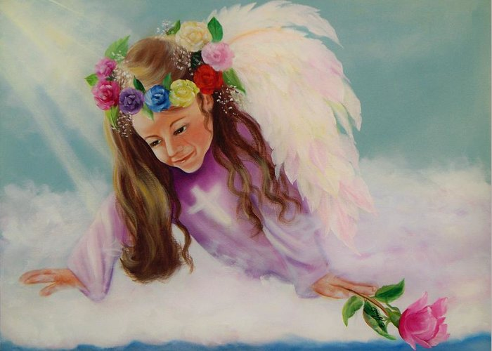 Oil Painting Greeting Card featuring the painting Angel Above by Joni McPherson