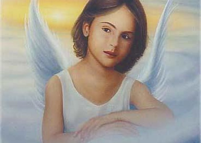 Angel Greeting Card featuring the painting Angel by Angel Ortiz