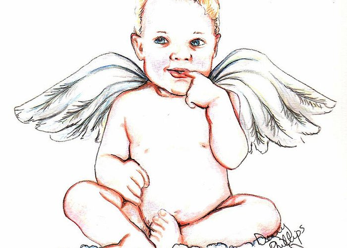 Angel Greeting Card featuring the mixed media Angel Baby by Denny Phillips
