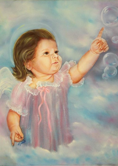 Angel Greeting Card featuring the painting Angel Baby by Joni McPherson