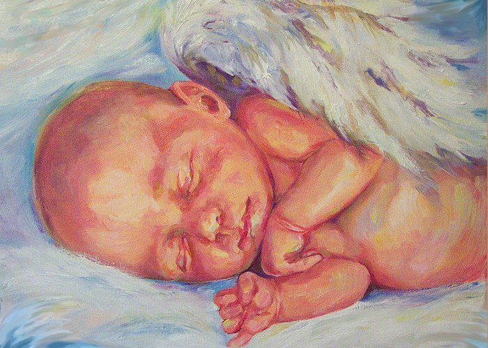 Baby Greeting Card featuring the painting Angel Baby by Peggy Wilson