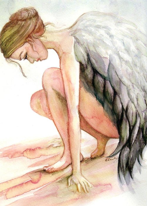 Angel Greeting Card featuring the drawing Angel Bowed by L Lauter