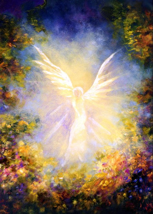 Angel Greeting Card featuring the painting Angel Descending by Marina Petro