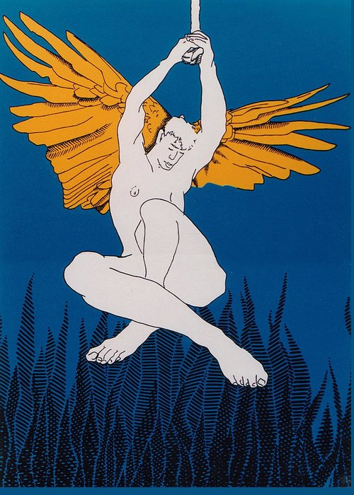 Male Greeting Card featuring the painting Angel by E Gibbons