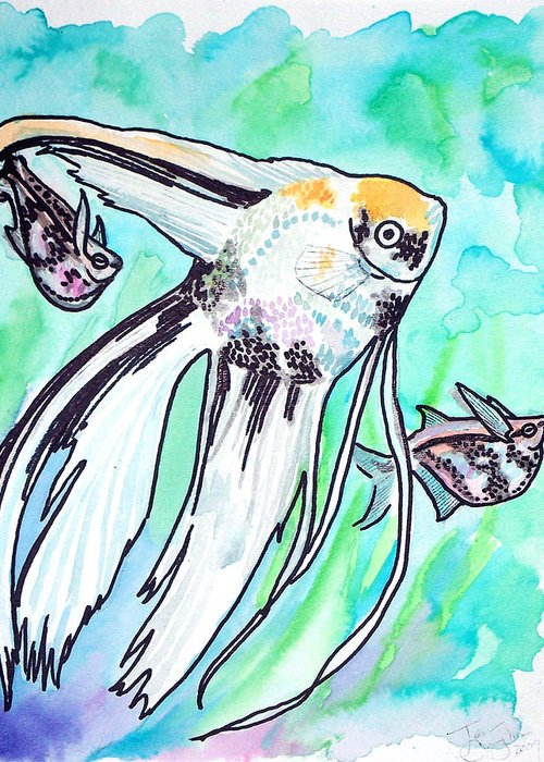 Fish Greeting Card featuring the painting Angel Fish And Hatchet Tetras by Jenn Cunningham
