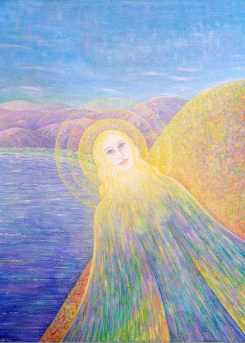 Symbolic Greeting Card featuring the painting Angel by Hiske Tas Bain