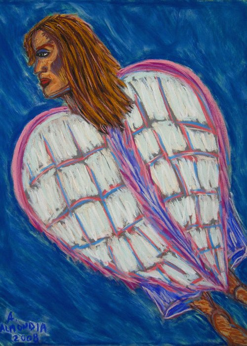 Spiritual Greeting Card featuring the painting Angel II by Albert Almondia