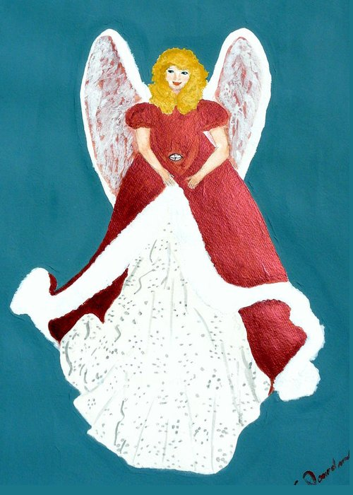 Angel Blonde Woman Lady Girl Wings Feathers Gown Fur Dress Beautiful Lovely Blue White Greeting Card featuring the painting Angel In Red by Cathy Jourdan