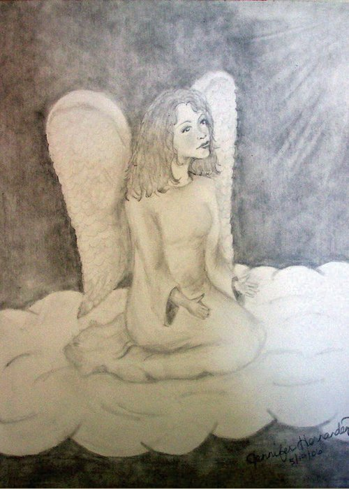 Angel Greeting Card featuring the drawing Angel by Jennifer Hernandez