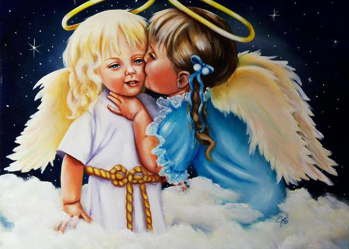 Angels Greeting Card featuring the painting Angel Kiss by Joni McPherson