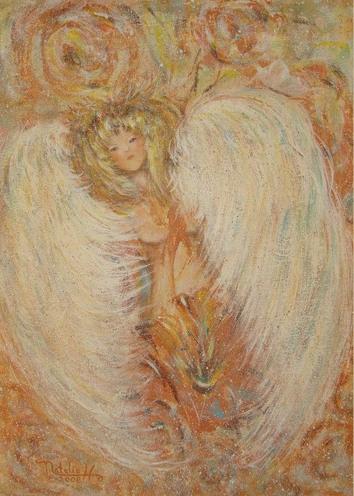 Angel Greeting Card featuring the painting Angel Loves You by Natalie Holland