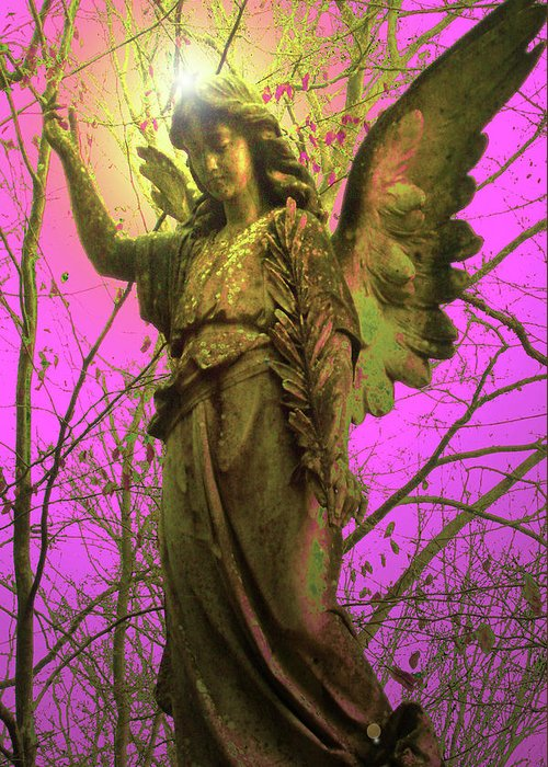 Angel Of Bless Greeting Card featuring the mixed media Angel Of Bless No. 02 by Ramon Labusch