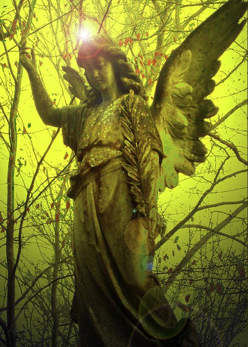 Angel Of Bless Greeting Card featuring the mixed media Angel Of Bless No. 04 by Ramon Labusch