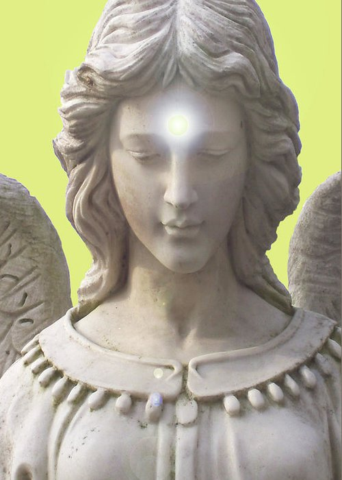 Angel Of Devotion Greeting Card featuring the mixed media Angel Of Devotion No. 12 by Ramon Labusch