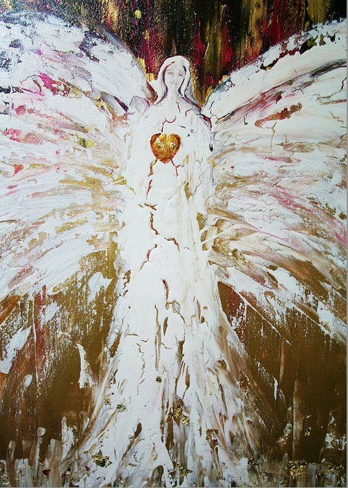 Angels Greeting Card featuring the painting Angel Of Divine Healing by Alma Yamazaki