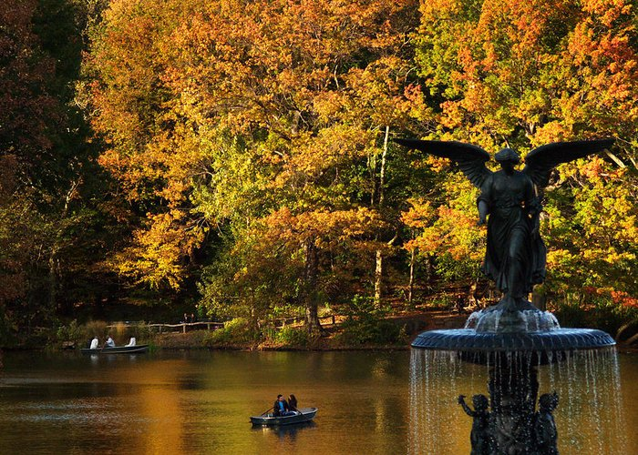 Central Park Greeting Card featuring the photograph Angel Of Golden Waters by Dorothy Lee