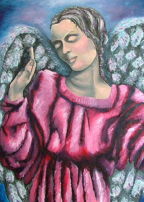 Angel Greeting Card featuring the painting Angel Of Hope by Elizabeth Lisy Figueroa