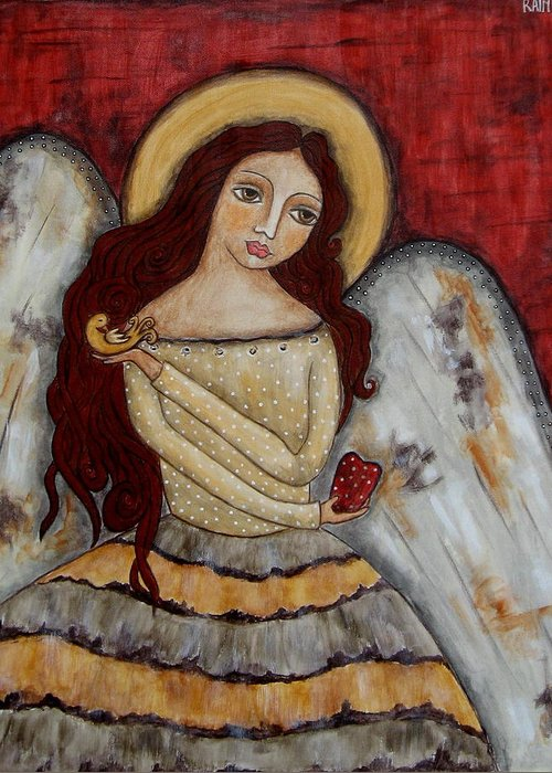 Folk Art Paintings Paintings Greeting Card featuring the painting Angel Of Kindness by Rain Ririn
