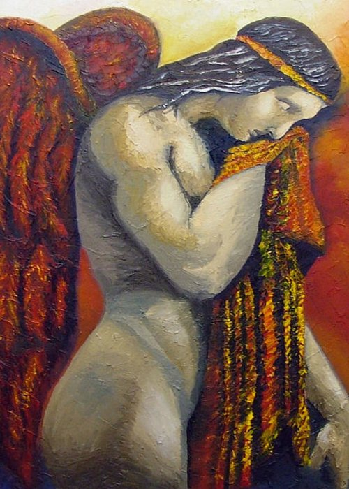 Angel Greeting Card featuring the painting Angel Of Love by Elizabeth Lisy Figueroa
