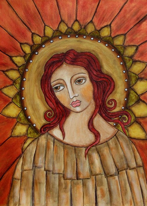 Folk Art Paintings Paintings Greeting Card featuring the painting Angel Of Nature by Rain Ririn