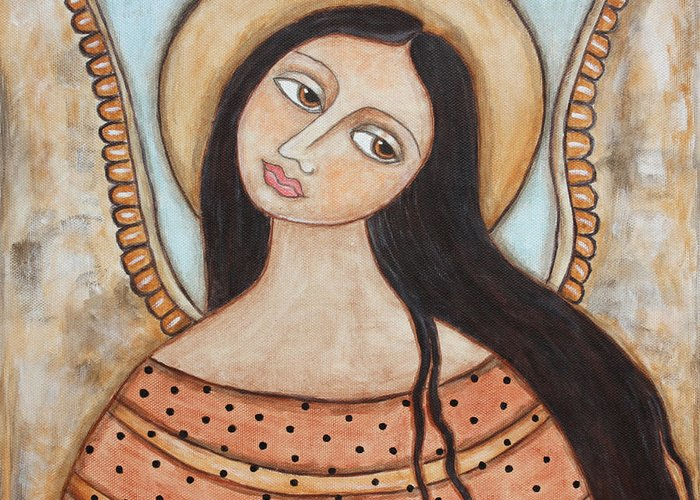 Folk Art Paintings Greeting Card featuring the painting Angel Of Silence by Rain Ririn