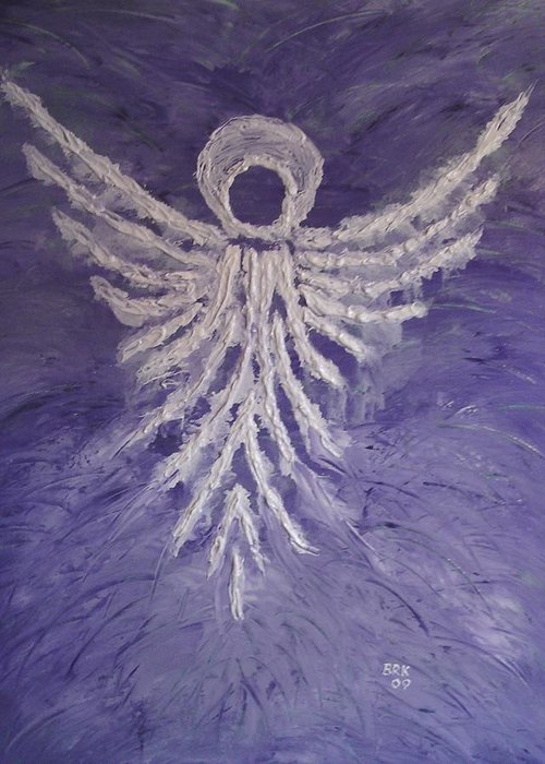 Angel Greeting Card featuring the painting Angel Of Spring by Bo Klinge