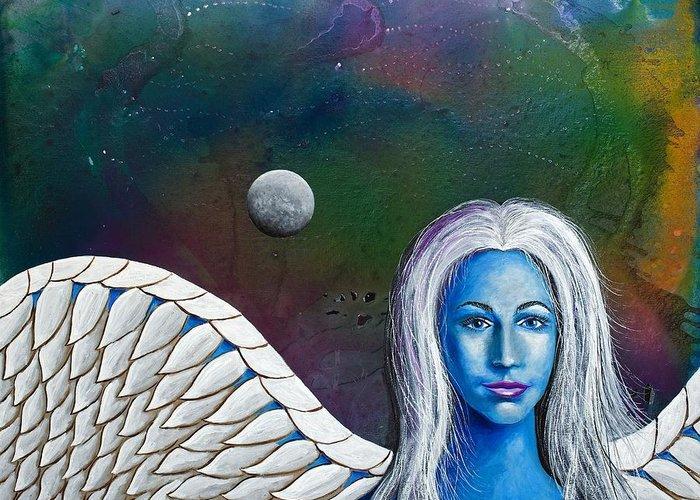 Angel Greeting Card featuring the painting Angel Of The Shepherd Moon by Lee Pantas