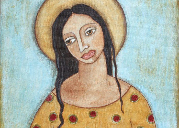 Folk Art Paintings Greeting Card featuring the painting Angel Of Tolerance by Rain Ririn