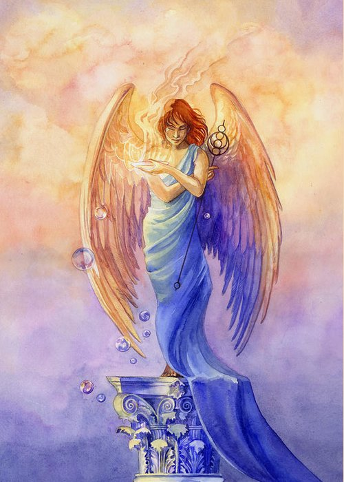 Angel Greeting Card featuring the painting Angel Of Truth And Illusion by Janet Chui