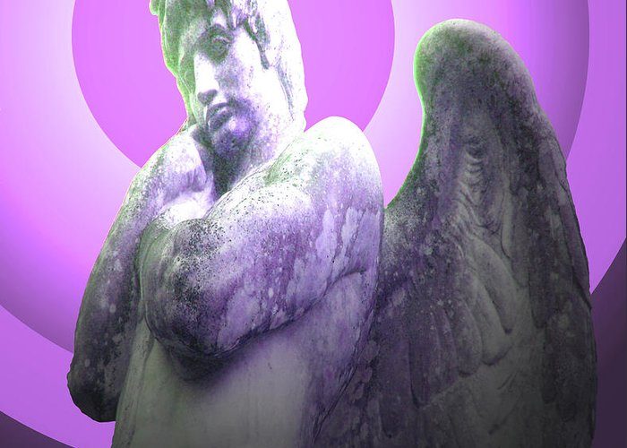 Angel Of Youth Greeting Card featuring the mixed media Angel Of Youth No. 02 by Ramon Labusch