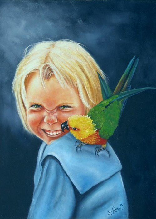 Portrait Greeting Card featuring the painting Angel On My Shoulder by Joni McPherson