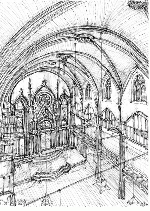 Angel Greeting Card featuring the drawing Angel Orensanz Sketch 3 by Adendorff Design