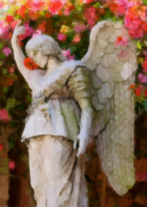 Pink Flower Greeting Card featuring the digital art Angel by Paul Bartoszek